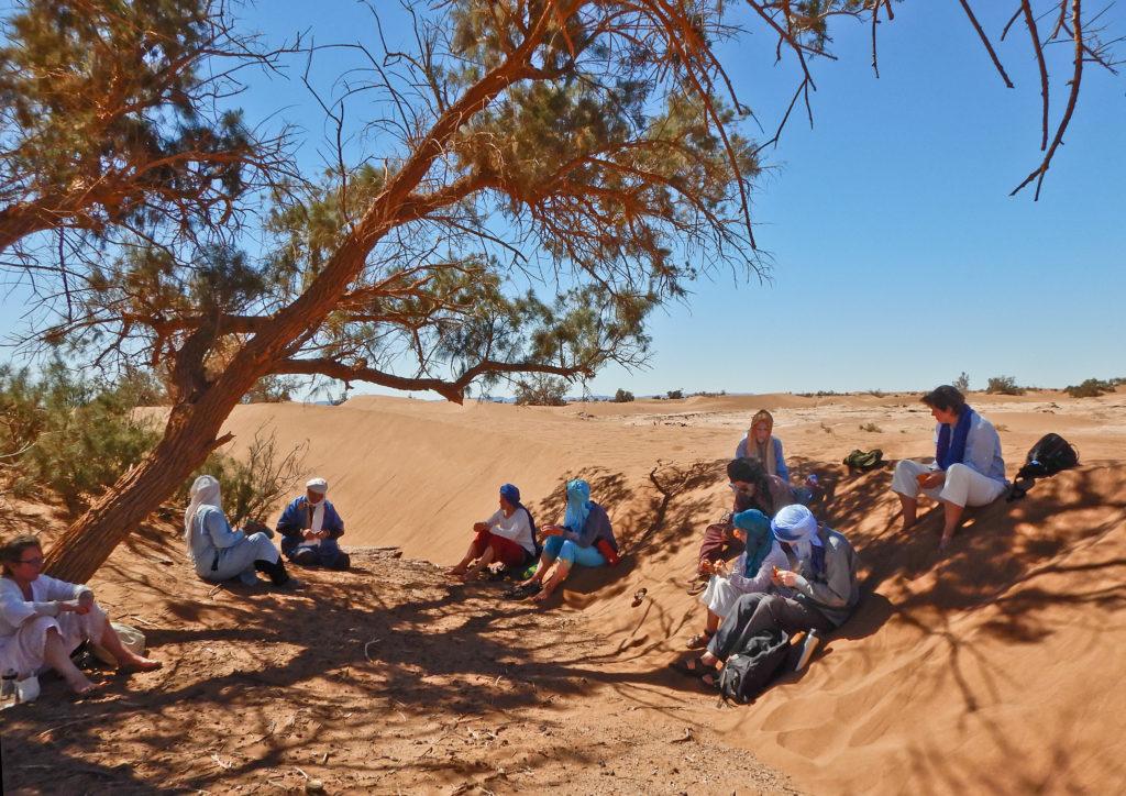 9 Personen pausieren im Schatten einer Tamariske im Sand und knabbern Nüsse und Obst