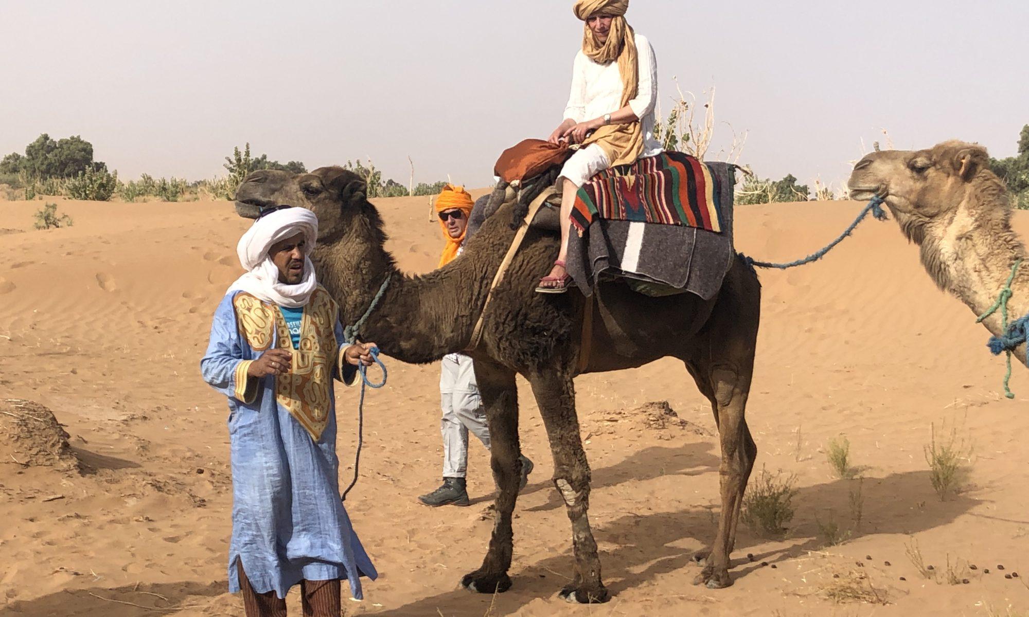 Brahim Taghlaoui steht vor einem Dromedar mit Reiterin und gibt Anweisungen
